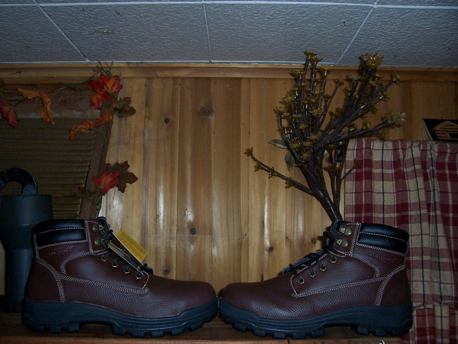 SURVIVOR STEEL TOE LEATHER WORK BOOTS SIZE 10 MENS  BUILDER BOOTS CASUAL NEW