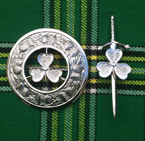 SCOTTISH HIGHLAND KILT FLY PLAID BROOCH IRISH SHAMROCK 3/'//KILT PIN 4/'/'//Kilt Pins