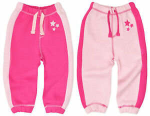 a3f064a76b Details about Baby Girls Jogging Pants Kids Pink Cotton Joggers Bottoms New  6 12 18 24 Months