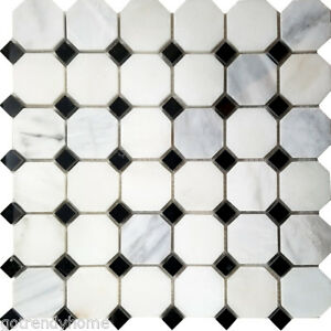 Image Is Loading Black White Octagon Marble Stone Mosaic Tile Kitchen