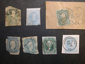 US Confederate stamp collection Scott 1 ,6, 11, 13 +1965 Appomattox 100th GZ3