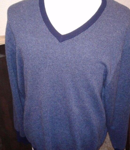 Daniel Cremieux Mens V-Neck Sweater XL Indigo Blue Heather Supima Cotton NWT