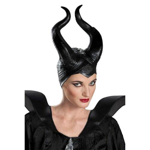 Deluxe Disney Maleficent Costume Headpiece Evil Queen Hat Women Black Horns