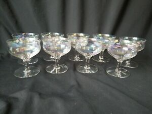 Iridescent Low Sherbet Champagne Stems Firelight Unknown Maker Set of 9