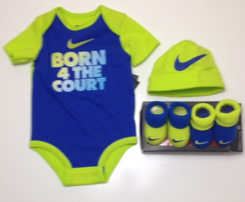 Booties /& Cap 0-6 M. Baby BOYS AIR NIKE 4-Piece Gift Outfit Set Bodysuit//Romper