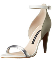 French Connection Silver Gray Leather Pumps Sandals Size 39.5 8.5 9 M $119