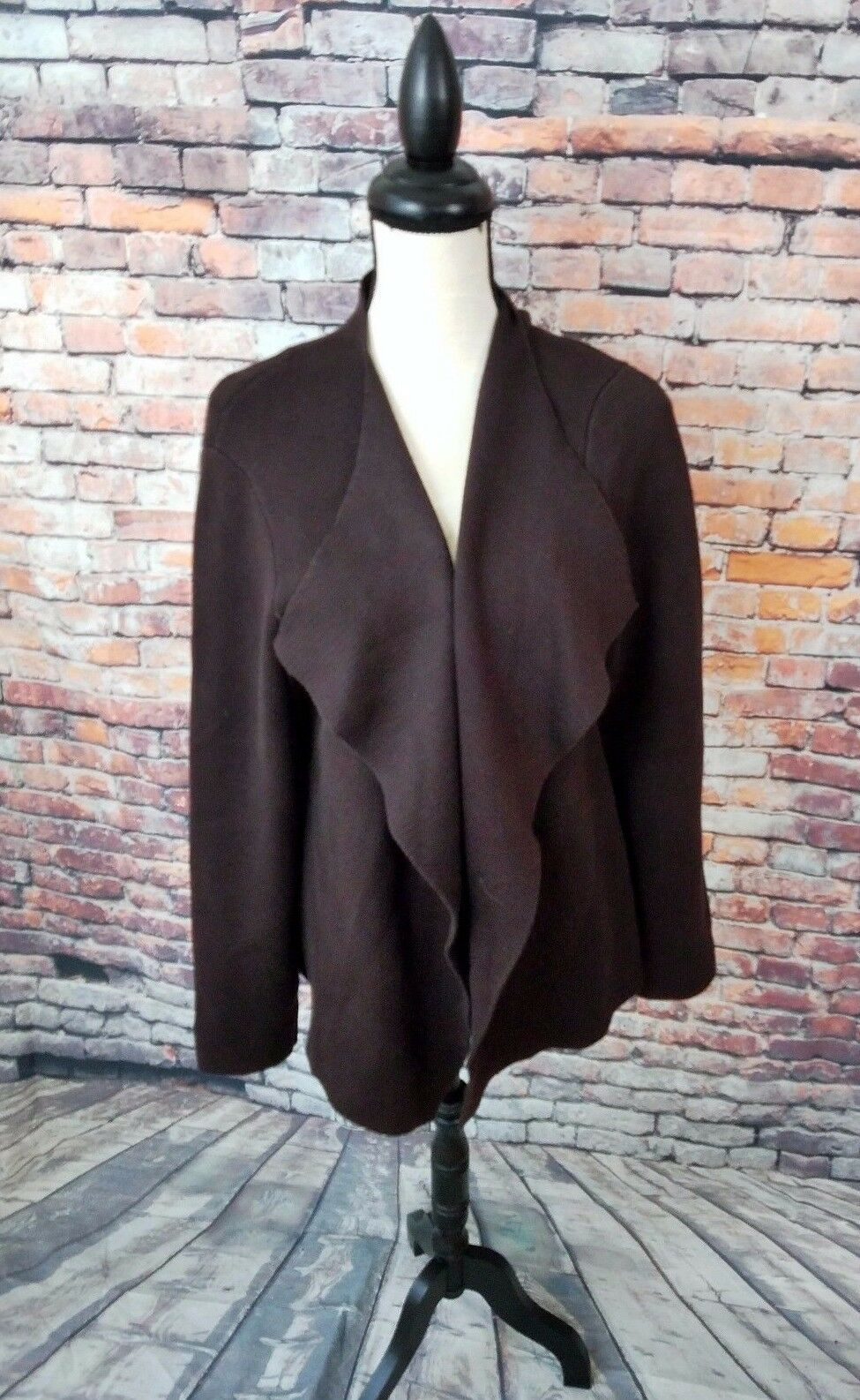 Eileen Fisher Women's Brown Open Front Cotton Blend Wrap Cardigan Sweater Sz L