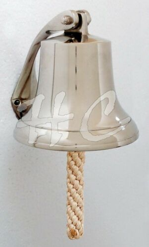 "Aluminium Brush Finish School Dinner Nautical Ship Bell 7/"" Wall Hanging Bracket"
