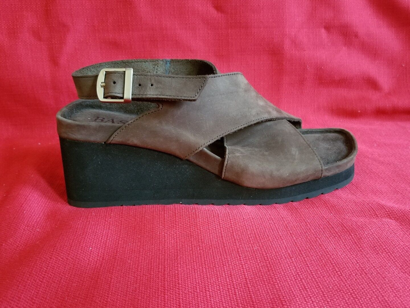 Vintage 90s BASS Chunky Wedge Brown Suede Sandals size 8.5