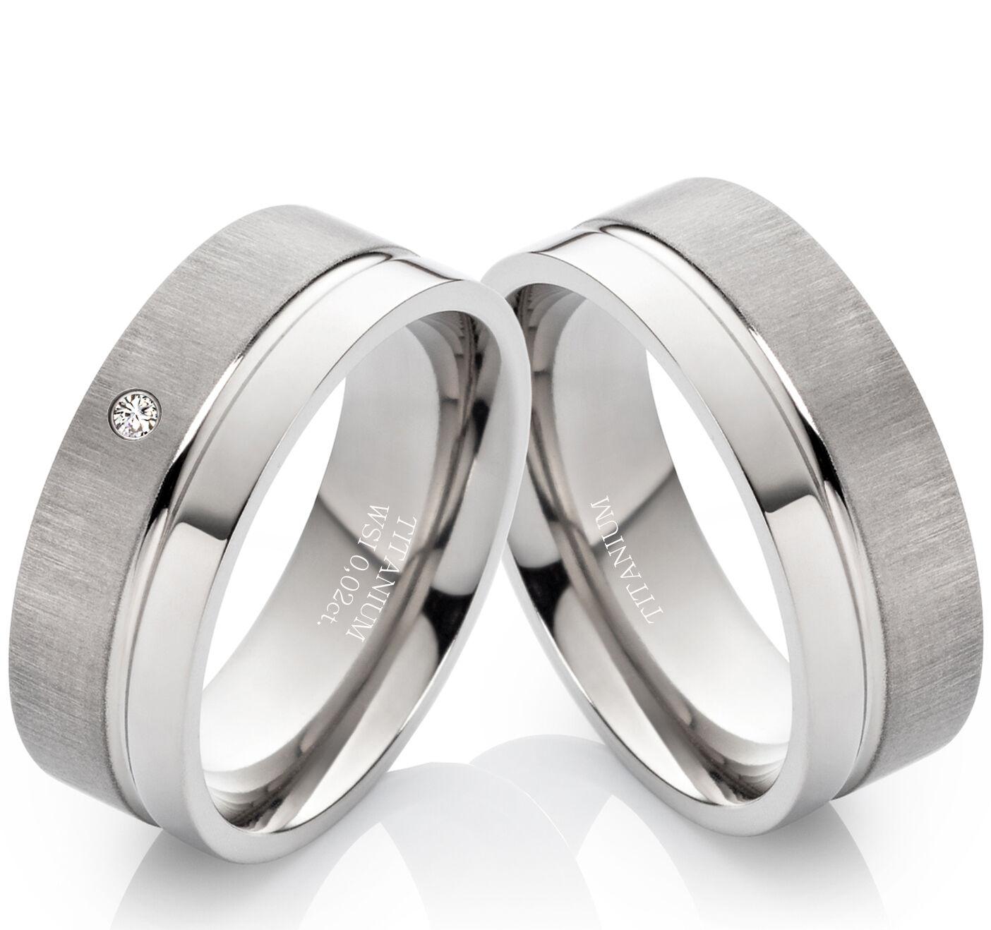 Eheringe Verlobungsringe Trauringe aus Titan mit Diamant und Ringe Gravur TB017