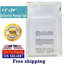 100 14x20 Clear Suffocation Warning Poly Self Seal Bags St Shipmailers