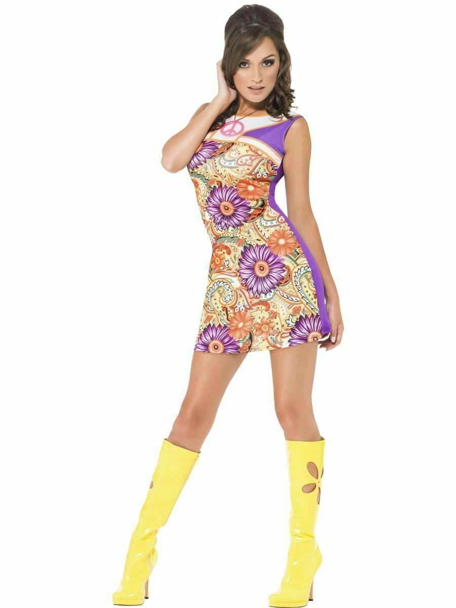 1960s FEVER DISCO VINTAGE HIPPY PSYCHEDELIC PEACE LOVE DRESS Large 16-18