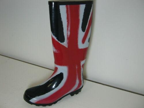 Ladies X1171 Funky Red White /& Blue Union Jack Print Wellies