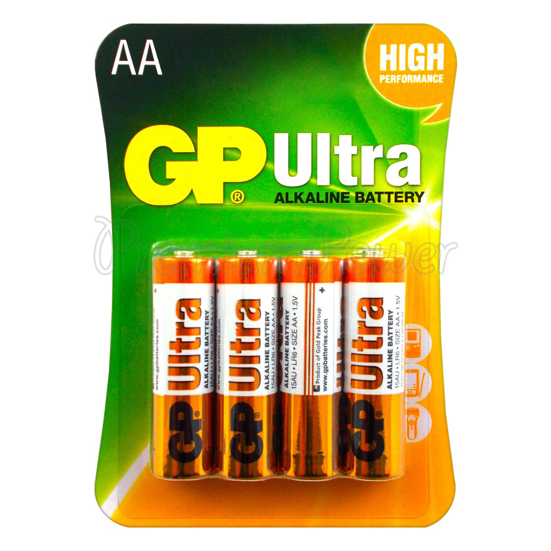 4 x gp alkaline ultra aa batteries 1.5v lr6 mn1500 mignon 4 pack