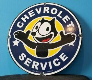 VINTAGE-FELIX-CAT-CHEVROLET-PORCELAIN-BOW-TIE-GAS-TRUCKS-SERVICE-SALES-AUTO-SIGN