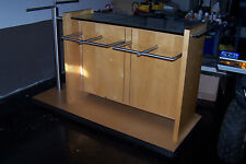 High End Wood And Glass Clothing Rack For Hanging Or Folded Clothes On Wheels