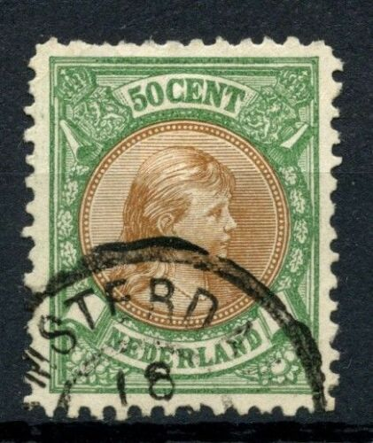 Netherlands 18938 SG#162, 50c Brown & YellowGreen P11 Used Cat Â275 #A56455