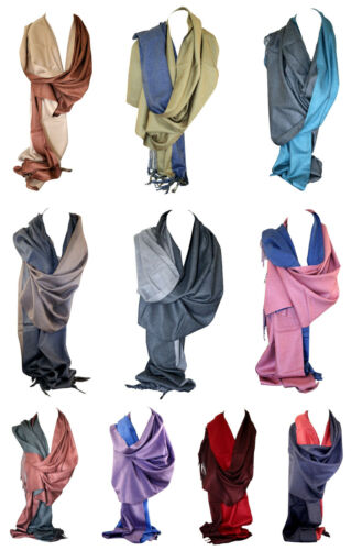 Two Sided Reversible Cashmere Shawl Wrap Stole Scarf Head Scarves