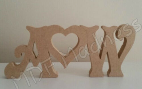 FREE STANDING MDF INITIALS WITH HOLLOW HEART WOODEN CRAFT SHAPE