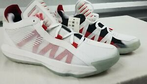 Adidas-Dame-6-Damian-Lillard-White-Scarlet-Mens-Sz-9-5-Basketball-Shoes-EH2069