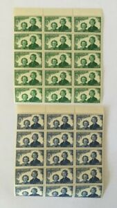 1944-New-Zealand-Health-2-Top-Blocks-of-15-Stamps-1d-amp-2d-Girl-Guides