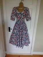 VINTAGE LAURA ASHLEY 1950s STYLE FLORAL DRESS, UK 10 12 14. PERFECT. REDUCED