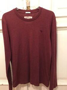 Abercrombie-amp-Fitch-A-amp-F-NY-cooles-Muscle-Langarm-Bordeaux-T-Shirt-T-Shirt-Gr-M