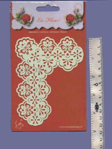 Marianne//Stencil//La Fleur//Floral//Butterfly//Corner//emboss//Stitch//Embroider//EE3434