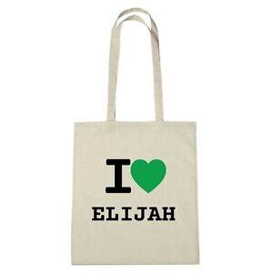 Umwelttasche - I love ELIJAH - Jutebeutel Ökotasche - Farbe: natur