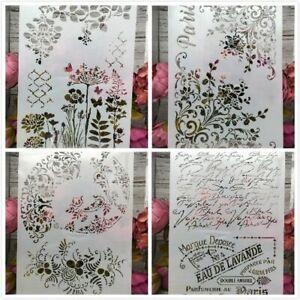 Fleur peinture pochoirs Album gaufrage Modèle Mignon Art 4 x Carte de Paquet Outil