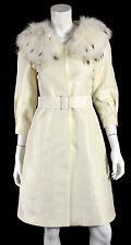 J MENDEL Ivory Silk Lynx Fur Detachable Collar Belted Long Coat 2