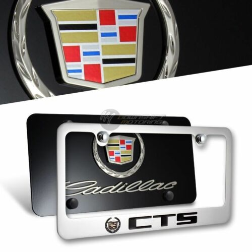 2pcs Front /& Back with Caps 3D CADILLAC CTS Stainless Steel License Plate Frame