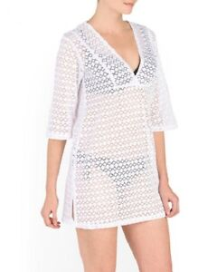 b851488ba8379 NWT J VALDI CROCHET SWIM COVER-UP V-NECK TUNIC WHITE SIZE M