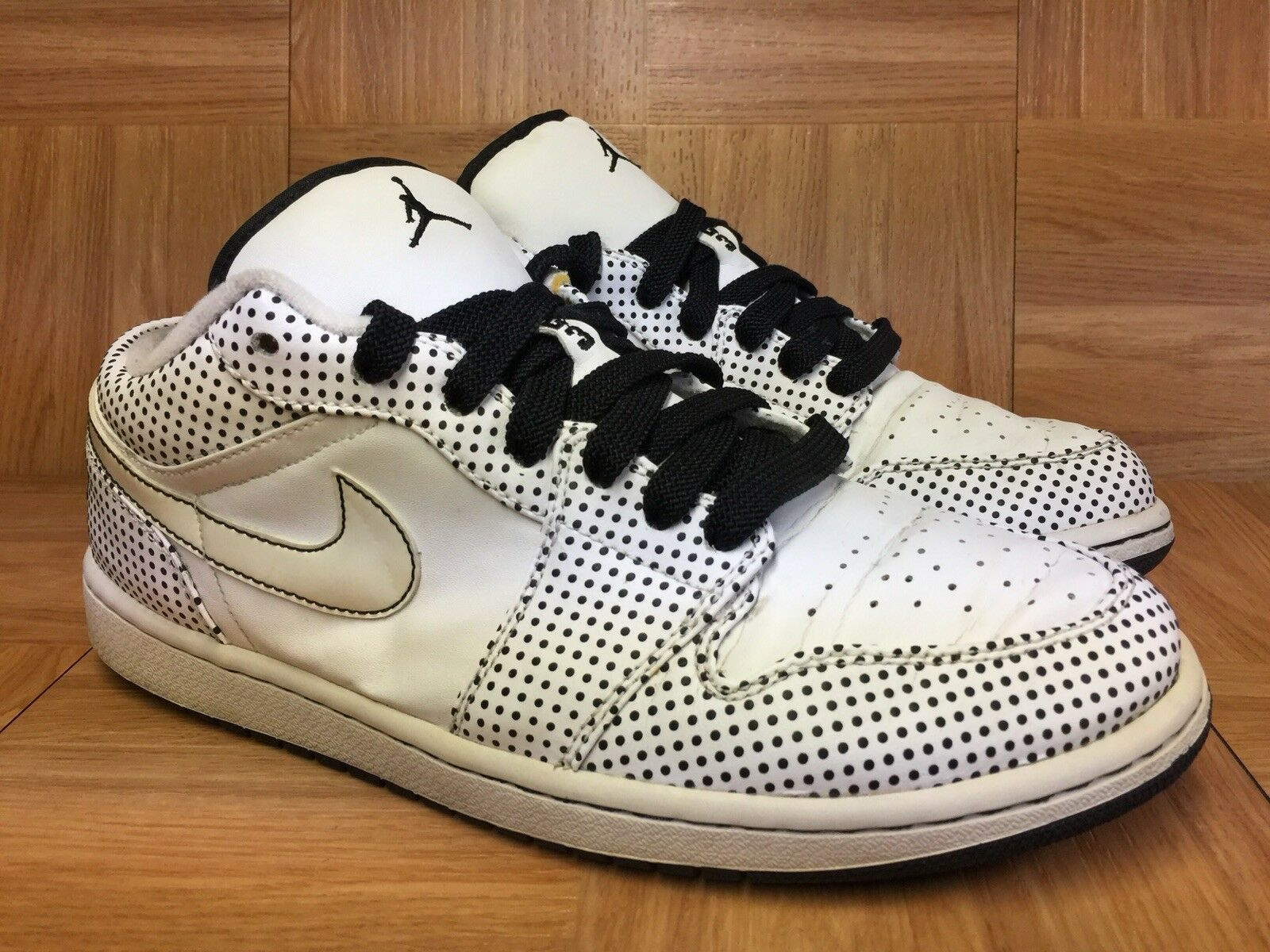 RARE Nike Air Jordan 1 Phat Low Polka Dots White Black Aj1 Sz 9.5 338145-102