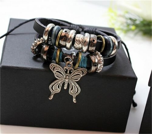 NEW Jewelry Fashion Infinity Leather Bracelet Breloque Argent Lots perles style ER