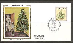 Canada-SC-900-Christmas-1981-Christmas-Trees-FDC-Colorano-Silk-Cachet