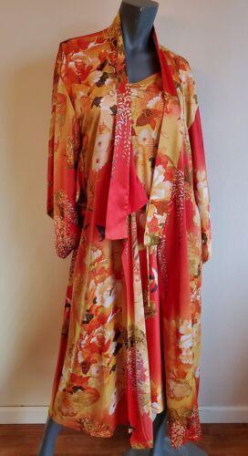 Natori Satin Orange Botanical Print Nightgown & Ki