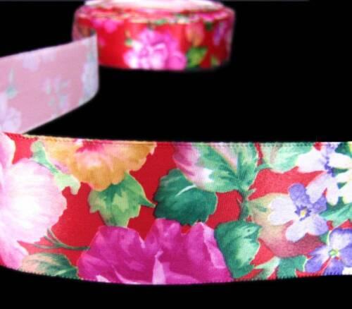 "5 Yds Red Flower Garden Tropical Satin Ribbon 1 1//2/""W"