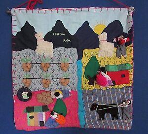 Peruvian-Cosecha-Papa-Hand-Made-Tapestry-Applique-Folk-Art-Peru-19-034-Wide-18-034-Tal