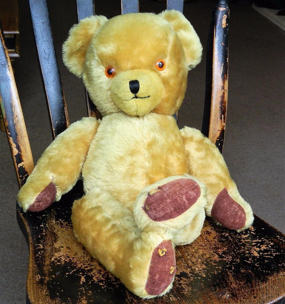 VINTAGE PEDIGREE n.ireland 1955-66 oroEN Peluche di giunti sferici 20  TEDDY BEAR EAR CAMPANE