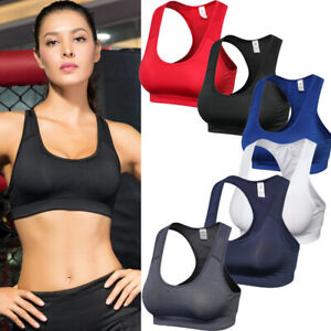 693aa59147c58 Womens Padded Sports Bra Ladies Gym Workout Fitness Exercises Crop ...