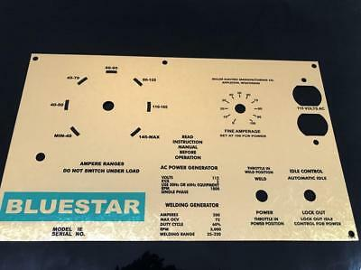 Miller Welder Aluminum Bluestar 1E Control Plate,Gold Engine Turn Gold,  Cool! | eBay
