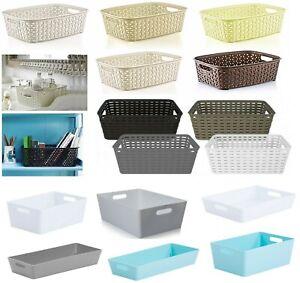 Rattan-Plastic-Studio-Storage-Handy-Basket-Office-Home-Kitchen-Tidy-Organiser