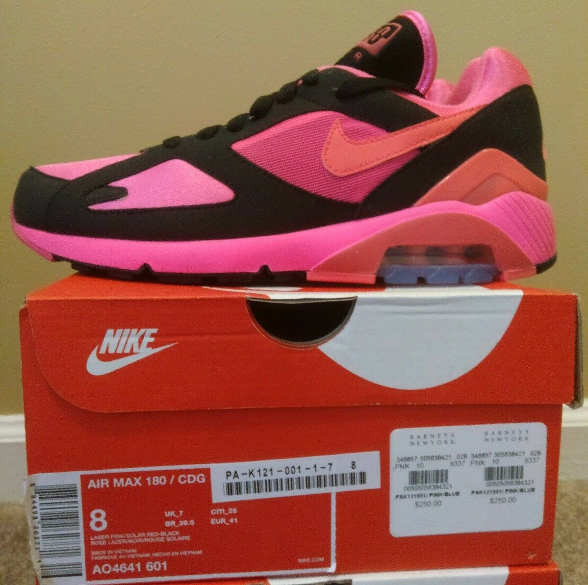 Nike Air Max 180 CDG  Comme des Garcons  US 8 AO4641 601 Black Pink Solar Red