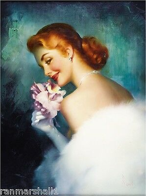1940s Pin-Up Girl The Pink Orchid Picture Poster Print Art Pin Up