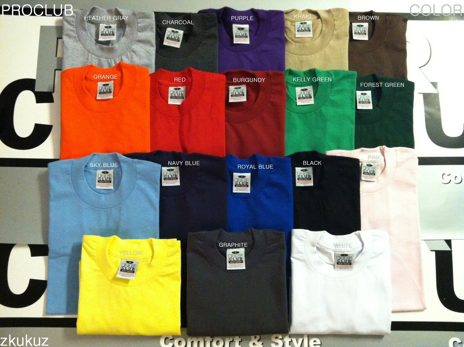 12 NEW PROCLUB HEAVY WEIGHT T-SHIRT 12PC COLOR PLAIN PRO CLUB TEE BLANK 5XL 12PC T-SHIRT ed4b7f