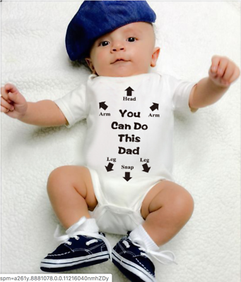 You Can Do It Dad Daddy Funny Baby Grow Bodysuit Baby grow Vest Gift Baby Shower
