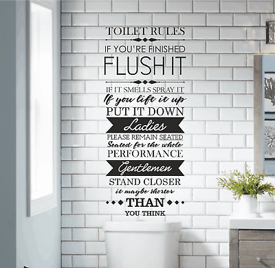 transfer funny, home decoration Toilet bathroom Rules vinyl wall art sticker