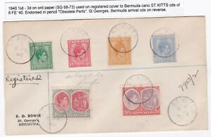 1940-St-KITTS-NEVIS-COVER-REGISTERED-TO-E-BOWIE-BERMUDA-6-DIFFERENT-STAMPS-REGd