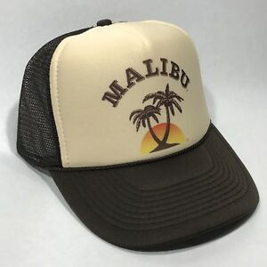 Image is loading Malibu-Rum-Vintage-Trucker-Hat-Hawaii-California-Beach- 5488d3dd850